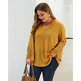 Women's Plus Size Blouse Shirt Solid Colored Long Sleeve Embroidered V Neck Tops Loose Basic Basic Top Yellow Blushing Pink