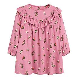Toddler Girls' Floral Long Sleeve Dress Blushing Pink