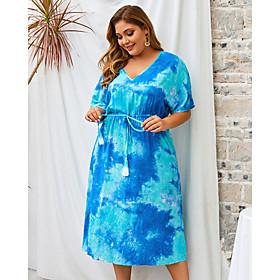 Women's Shift Dress Midi Dress - Half Sleeve Print Tie Dye Summer V Neck Plus Size Casual Loose 2020 Blue Green XL XXL 3XL 4XL