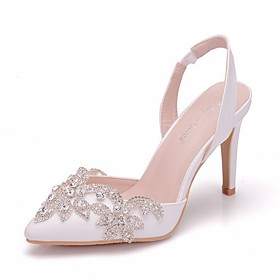 Women's Sandals Summer Stiletto Heel Pointed Toe Daily Solid Colored PU White