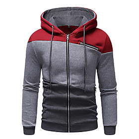 Men's Hoodie Striped Hooded Basic Hoodies Sweatshirts  Wine Navy Blue Gray