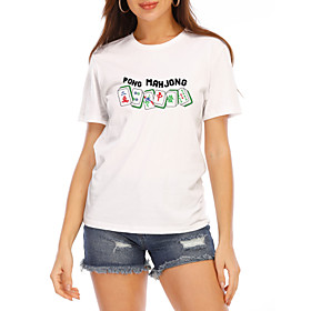 Women's T-shirt Graphic Prints Round Neck Tops Slim 100% Cotton Basic Top Cat White Yellow