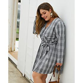 Women's Shift Dress Knee Length Dress - Long Sleeve Geometric Print Fall V Neck Plus Size Casual 2020 Gray XL XXL 3XL 4XL