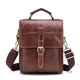 Men's Bags Nappa Leather Briefcase Zipper for Daily / Office  Career Dark Green / Brown / Fall  Winter