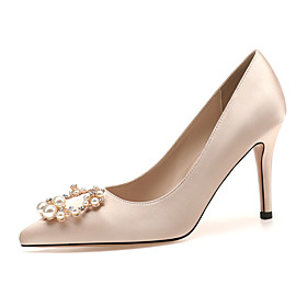 Women's Heels / Wedding Shoes 2020 Spring / Fall Stiletto Heel Pointed Toe Classic Basic Sweet Daily Party  Evening Rhinestone / Imitation Pearl Solid Colored