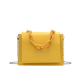 Women's Bags Polyester Top Handle Bag Chain for Daily / Office  Career White / Black / Yellow / Green / Fall  Winter