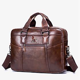 Men's Bags Cowhide Laptop Bag / Briefcase / Top Handle Bag Belt Zipper for Daily / Office  Career Brown