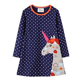 Toddler Girls' Polka Dot Animal Long Sleeve Dress Royal Blue