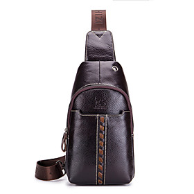 Men's Bags Nappa Leather Sling Shoulder Bag Zipper for Holiday / Outdoor Dark Coffee