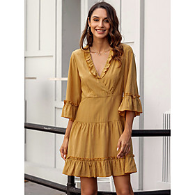 Women's A-Line Dress Knee Length Dress - 3/4 Length Sleeve Solid Color Ruffle Zipper Spring Fall V Neck Casual Holiday Flare Cuff Sleeve Slim 2020 Yellow S M L