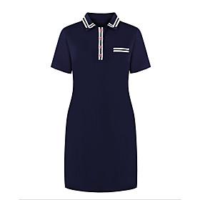 Women's A-Line Dress Knee Length Dress - Short Sleeve Solid Color Summer Shirt Collar Casual 2020 Wine Dusty Blue L XL XXL 3XL 4XL 5XL 6XL