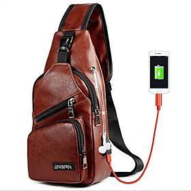 Men's Bags PU Leather Sling Shoulder Bag Zipper for Daily Dark Brown / Black / Brown