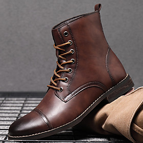 Men's Boots Vintage / British Daily Office  Career Walking Shoes Synthetics Non-slipping Wear Proof Mid-Calf Boots Light Brown / Dark Brown / Black Fall / Wint