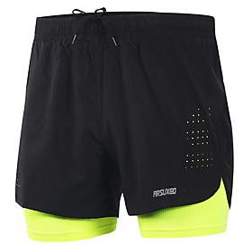 Arsuxeo Men's Running Shorts Athletic Bottoms 2 in 1 Liner Split Spandex Gym Workout Marathon Basketball Football / Soccer Running Active Training Li