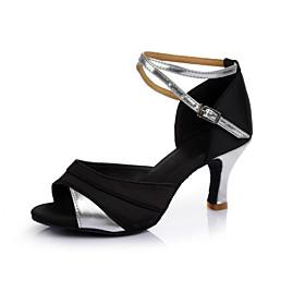 Women's Latin Shoes Heel Cuban Heel Satin PU Black / Gold / Black / Silver / Black / Red / Performance / Leather / Practice