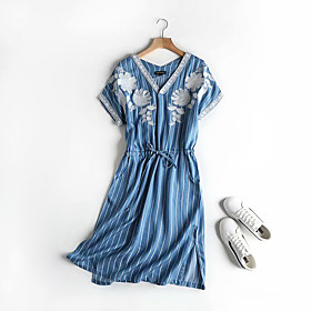 Women's A-Line Dress Midi Dress - Short Sleeve Striped Geometric Print Summer V Neck Casual Cotton 2020 Blue Light Blue M L