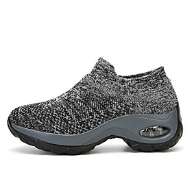 Women's Trainers / Athletic Shoes Summer Flat Heel Round Toe Daily Solid Colored Tissage Volant White / Black / Gray