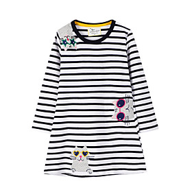 Kids Girls' Striped Animal Dress Black