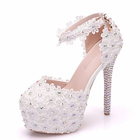 Women's Sandals Summer Stiletto Heel Peep Toe Daily Solid Colored PU White