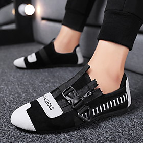 Men's Loafers  Slip-Ons Casual Daily Outdoor PU Breathable Warm Waterproof Black and White / Black / Red Spring / Fall
