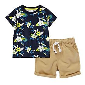 Kids Boys' Clothing Set Floral Short Sleeve Basic Orange Khaki Royal Blue Fabric:Cotton; Sleeve Length:Short Sleeve; Gender:Boys'; Style:Basic; Kids Apparel:Clothing Set; Age Group:Kids; Pattern:Floral; Front page:FF; Listing Date:07/02/2020; Bust:; Length [Bottom]:; Length [Top]: