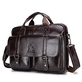 Men's Bags Nappa Leather Laptop Bag / Briefcase / Top Handle Bag Belt Zipper for Office  Career Light Coffee / Black / Fall  Winter