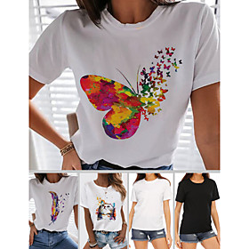 Women's T-shirt Rainbow Butterfly Heart Print Round Neck Tops 100% Cotton Basic Basic Top Butterfly White Black