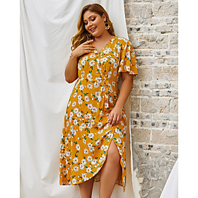 Women's Swing Dress Midi Dress - Short Sleeve Floral Print Summer V Neck Plus Size Casual 2020 Yellow Royal Blue XL XXL 3XL 4XL