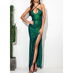 Women's A-Line Dress Maxi long Dress - Sleeveless Solid Color Backless Sequins Summer V Neck Elegant Sexy Party 2020 White Green S M L XL