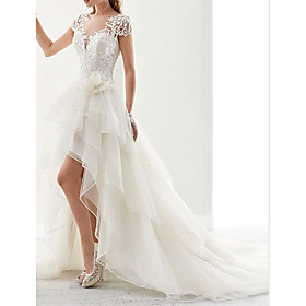 A-Line Wedding Dresses Square Neck Asymmetrical Lace Tulle Sleeveless Country with Appliques 2020