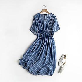 Women's A-Line Dress Knee Length Dress - Short Sleeve Striped Summer V Neck Casual Cotton 2020 Blue Light Blue M L