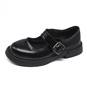 Women's Lolita Shoes Summer Flat Heel Round Toe Daily Solid Colored PU Black / Silver / Black