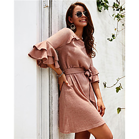 Women's Sweater Jumper Dress Short Mini Dress - 3/4 Length Sleeve Ruffle Fall Winter Casual Cotton 2020 Blue Blushing Pink Wine S M L XL
