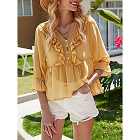 Women's Going out Blouse Shirt Solid Colored V Neck Tops Basic Top Yellow