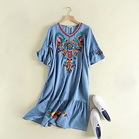 Women's A-Line Dress Knee Length Dress - Half Sleeve Geometric Ruffle Summer V Neck Casual Cotton 2020 Blue Light Blue M L