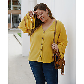 Women's Plus Size Blouse Shirt Solid Colored Long Sleeve Cut Out V Neck Tops Basic Basic Top Black Yellow Gray