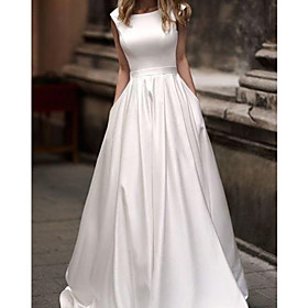 A-Line Wedding Dresses Jewel Neck Sweep / Brush Train Satin Sleeveless Simple with 2020