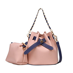 Women's Bags PU Leather Crossbody Bag Solid Color for Daily Black / Blushing Pink / Beige / Gray
