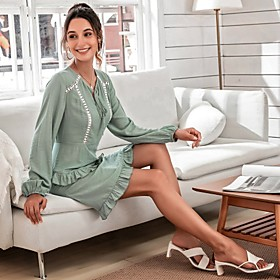 Women's A-Line Dress Knee Length Dress - Long Sleeve Solid Color Ruffle Spring Fall Casual Going out Puff Sleeve 2020 Blue S M L XL