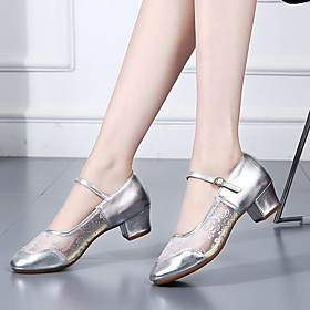 Women's Latin Shoes Heel Thick Heel PU Black / Red / Gold