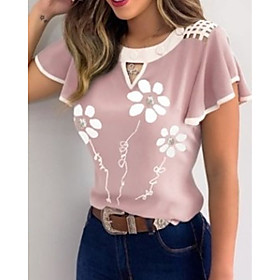 Women's T-shirt Floral Graphic Prints Flower Print Round Neck Tops Basic Basic Top Purple Blushing Pink Gray