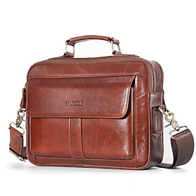 Men's Bags Cowhide Laptop Bag / Briefcase / Top Handle Bag Belt Zipper for Office  Career Red Brown