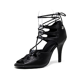Women's Dance Shoes Latin Shoes / Jazz Shoes / Ballroom Shoes Heel Ribbon Tie Slim High Heel Customizable Black / Red / Performance / Satin / Leather / Practic