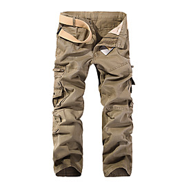 Men's Basic Daily Loose Cotton Tactical Cargo Pants Solid Colored Patchwork Spring Fall Black Army Green Khaki US32 / UK32 / EU40 US34 / UK34 / EU42 US36 / UK3