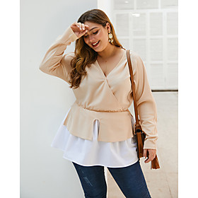 Women's Plus Size Blouse Shirt Solid Colored Long Sleeve Patchwork V Neck Tops Basic Basic Top Red Army Green Beige