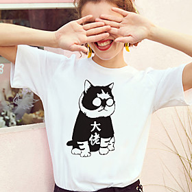 Women's T-shirt Cat Print Round Neck Tops 100% Cotton Basic Basic Top White Black Yellow