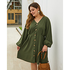 Women's A-Line Dress Knee Length Dress - Long Sleeve Solid Color Fall V Neck Plus Size Casual Loose 2020 Army Green XL XXL 3XL 4XL
