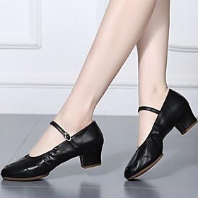 Women's Dance Shoes Latin Shoes / Modern Shoes / Ballroom Shoes Heel Cuban Heel Black / Gold / Silver / Performance
