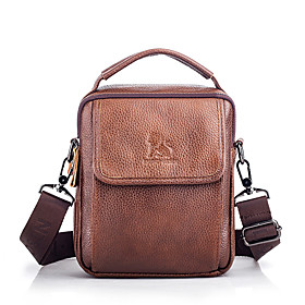 Men's Bags Nappa Leather Sling Shoulder Bag Zipper for Daily / Office  Career Dark Coffee / Brown / Fall  Winter