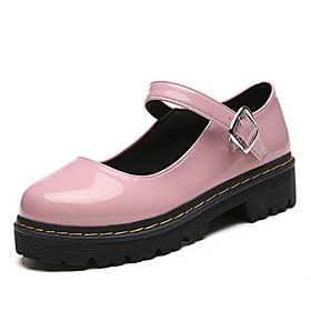 Women's Loafers  Slip-Ons / Lolita Shoes Spring / Summer Block Heel Round Toe Classic Vintage Daily PU Black / Burgundy / Pink